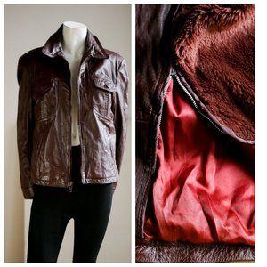 70s Vintage Burgundy Leather Jacket w Fur Liner